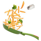 French fries in freeze motion Stock Photos