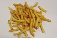 French fries . Fried potato. Image of french fries on a white background. stock images