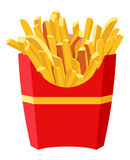 French fries. Full red box of French fries Royalty Free Stock Photos