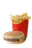 French fries and hamburger Royalty Free Stock Photos