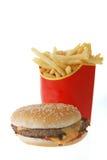 French fries and hamburger royalty free stock photos