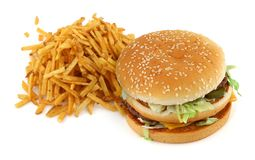 French fries and hamburger Royalty Free Stock Images