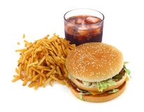 French fries, hamburger and cola Royalty Free Stock Image