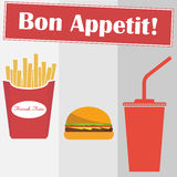 French fries, hamburger, cola. Flat design, vector illustration, vector. The picture shows a hamburger, french fries and cola vector illustration