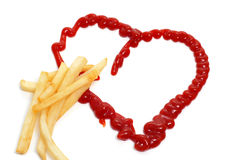 French fries and heart Royalty Free Stock Images