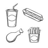 French fries, hot dog, chicken leg ans soda. Fast food french fries in paper box, hot dog with ketchup, fried chicken leg and sweet soda in takeaway cup with Stock Photos