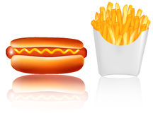 French fries with a hot dog. Vector. Stock Photos