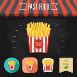 French fries icon on a chalkboard. Set of icons and eco label. Flat design. Vector Royalty Free Stock Photography