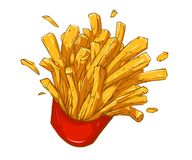 French fries illustration. French fries deluxe Royalty Free Stock Photos