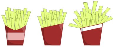 French fries. Illustration representing three packs full of french fries Royalty Free Stock Photo