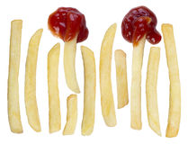 French fries isolated on white stock photography