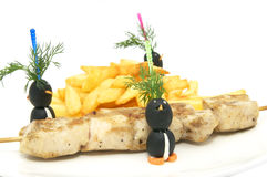 French fries and kebabs Stock Photography