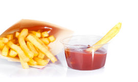 French fries with ketchup Royalty Free Stock Image