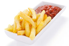 French fries and ketchup Royalty Free Stock Photography