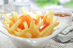 French Fries & Ketchup Royalty Free Stock Photos