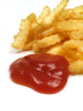 French fries and ketchup. Some French fries and tomato ketchup royalty free stock images