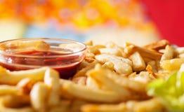 French fries and ketchup - closeup Royalty Free Stock Photo