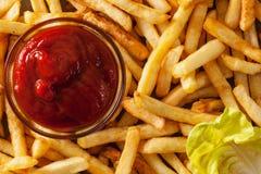 French fries and ketchup closeup Royalty Free Stock Image