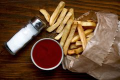 French fries with ketchup Royalty Free Stock Images