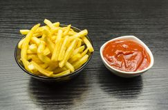 French fries and ketchup. royalty free stock photography