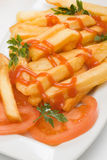 French fries with ketchup and fresh tomato Royalty Free Stock Photography