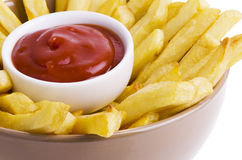 French fries and ketchup Stock Image