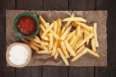 French fries with ketchup and mayo Stock Photos