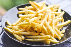 French fries with ketchup and mayonnaise Royalty Free Stock Photo