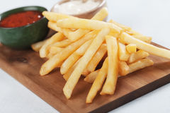 French fries with ketchup an mayonnaise Stock Photography