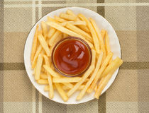 French Fries and Ketchup Royalty Free Stock Photos