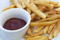 French fries and ketchup on plate Royalty Free Stock Photography