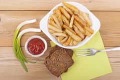 French fries with ketchup Stock Photos