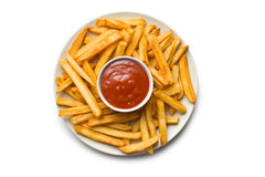 French fries with ketchup on plate Stock Photography