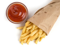 French fries with ketchup Royalty Free Stock Photography