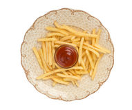 French fries with ketchup on white Royalty Free Stock Photography