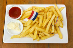 French fries with ketchup. Stock Photos