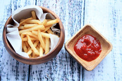 French Fries and Ketchup Stock Photos