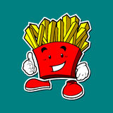 French fries mascot with thumb Stock Photos