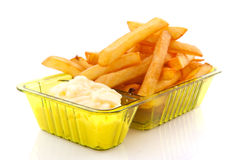 French fries with mayonaise Royalty Free Stock Image