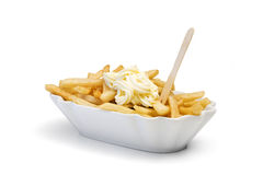 French fries with mayonnaise Royalty Free Stock Photos