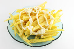 French fries with mayonnaise Royalty Free Stock Image