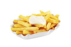 French fries with mayonnaise isolated Stock Photography
