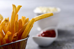 French fries, mayonnaise and ketchup Royalty Free Stock Photo