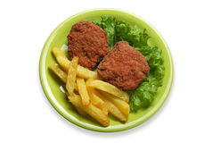 French fries and meatballs stock image