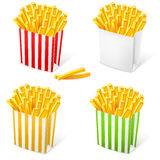 French fries in a multi-colored striped packaging Stock Photography