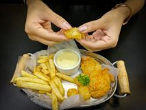 French fries and nuggets Stock Images