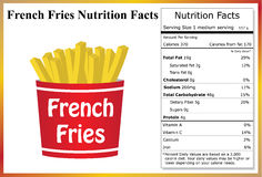 French Fries Nutrition Facts. Container of french fries with a nutrition label Royalty Free Stock Photo