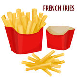 French fries, packaging. Vector illustration, isolated on white background stock illustration