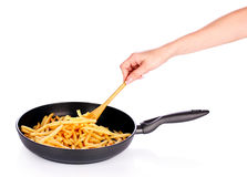 French fries in the pan isolated Stock Photography