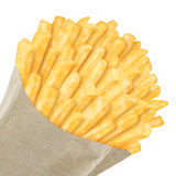 French fries in paper bag. On white background Stock Images